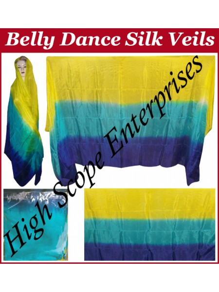 Belly Dance Three Color Gradient Rectangle Silk Veil HSE-RV-11001