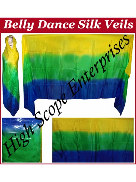 Belly Dance Three Color Gradient Rectangle Silk Veil HSE-RV-11002