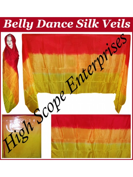 Belly Dance Three Color Gradient Rectangle Silk Veil HSE-RV-11003