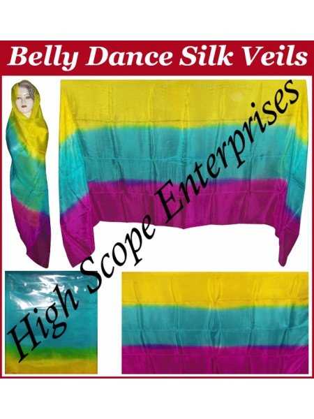 Belly Dance Three Color Gradient Rectangle Silk Veil HSE-RV-11004
