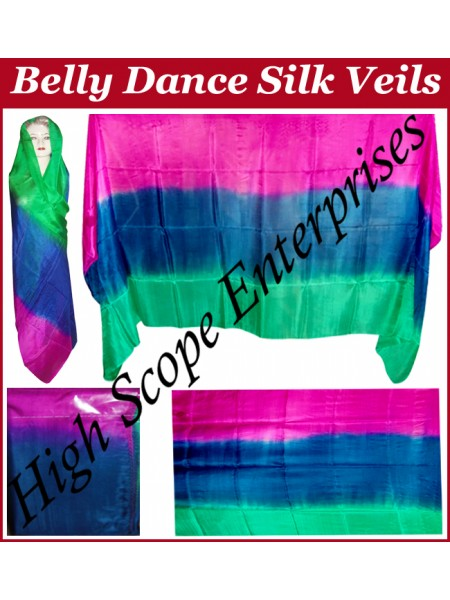 Belly Dance Three Color Gradient Rectangle Silk Veil HSE-RV-11008