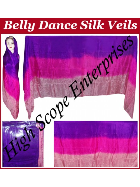 Belly Dance Three Color Gradient Rectangle Silk Veil HSE-RV-11009
