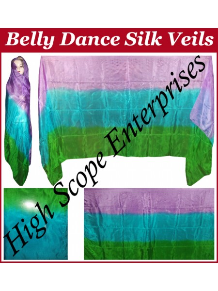 Belly Dance Three Color Gradient Rectangle Silk Veil HSE-RV-11013