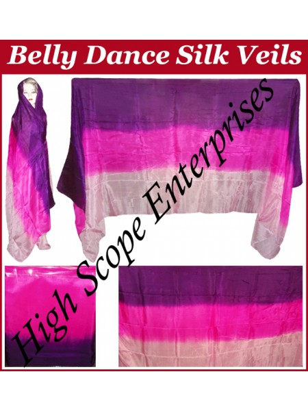 Belly Dance Three Color Gradient Rectangle Silk Veil HSE-RV-11014