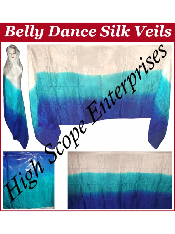 Belly Dance Three Color Gradient Rectangle Silk Veil HSE-RV-11018