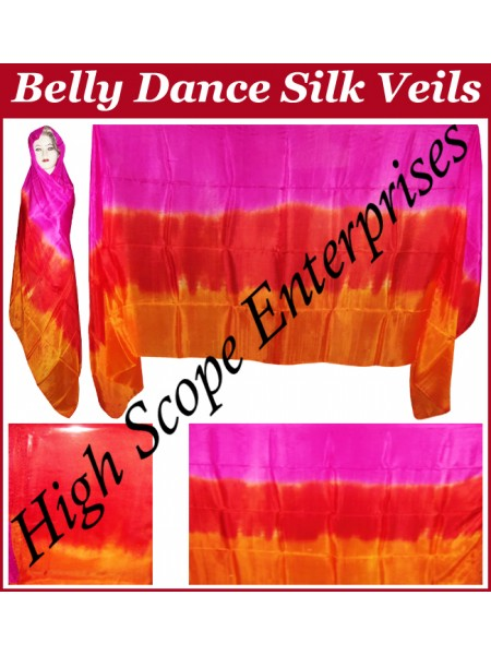Belly Dance Three Color Gradient Rectangle Silk Veil HSE-RV-11019
