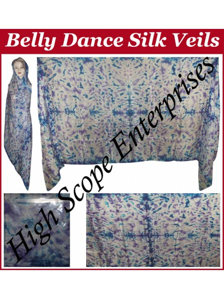 Belly Dance Tie-dye Color on Color  Rectangle Silk Veil HSE-RV-12001