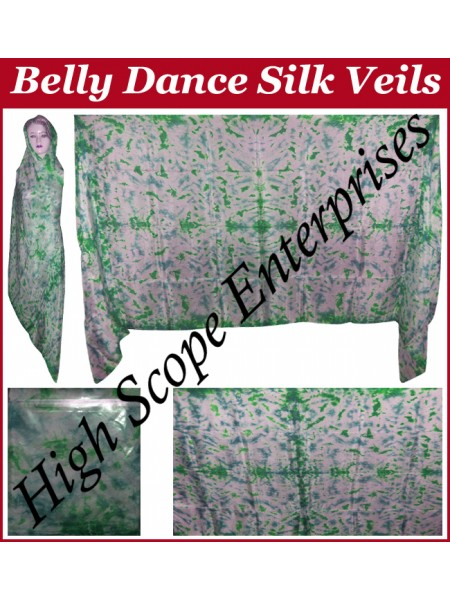 Belly Dance Tie-dye Color on Color  Rectangle Silk Veil HSE-RV-12002