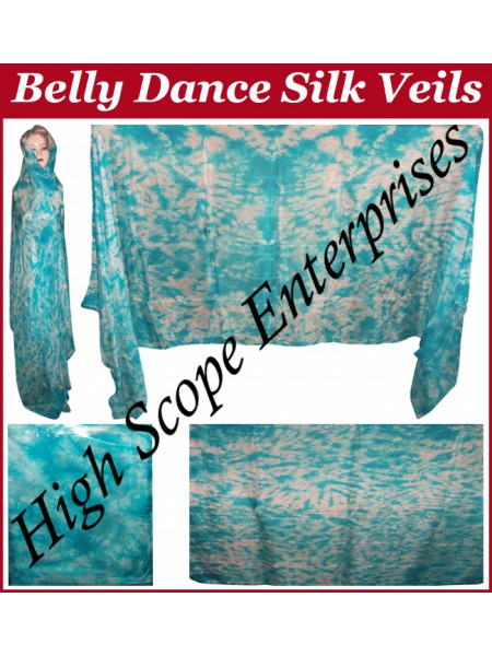 Belly Dance Tie-dye Color on Color  Rectangle Silk Veil HSE-RV-12003