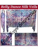 Belly Dance Tie-dye Color on Color  Rectangle Silk Veil HSE-RV-12004