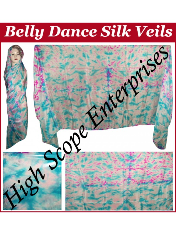 Belly Dance Tie-dye Color on Color  Rectangle Silk Veil HSE-RV-12005
