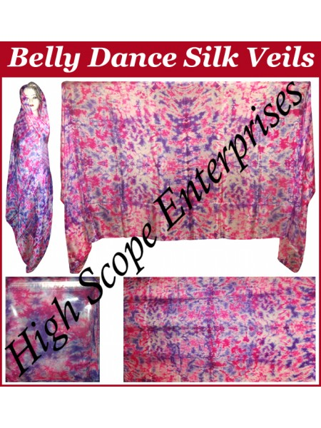 Belly Dance Tie-dye Color on Color  Rectangle Silk Veil HSE-RV-12006