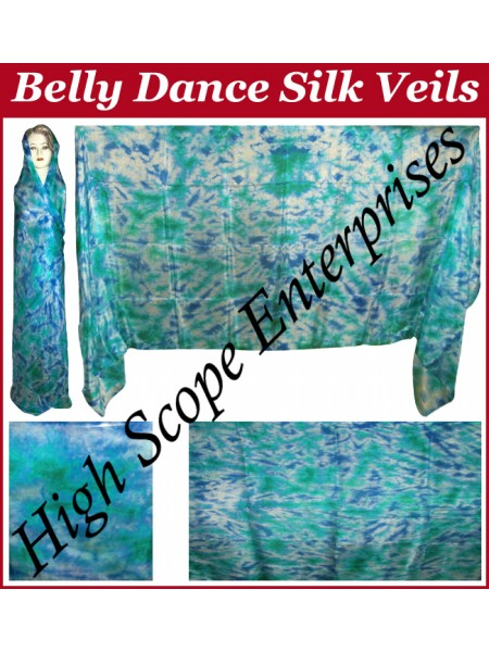 Belly Dance Tie-dye Color on Color  Rectangle Silk Veil HSE-RV-12007