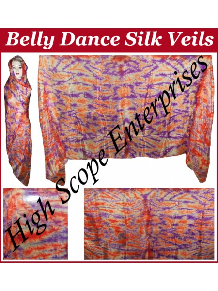 Belly Dance Tie-dye Color on Color  Rectangle Silk Veil HSE-RV-12008