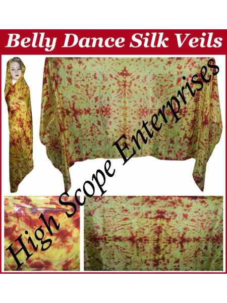 Belly Dance Tie-dye Color on Color  Rectangle Silk Veil HSE-RV-12009