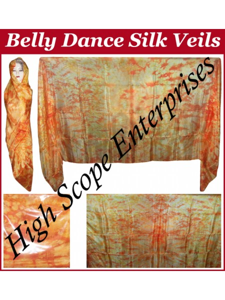 Belly Dance Tie-dye Color on Color  Rectangle Silk Veil HSE-RV-12010