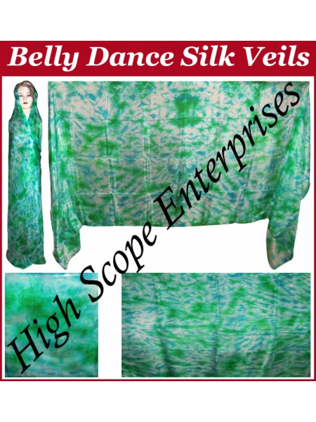 Belly Dance Tie-dye Color on Color  Rectangle Silk Veil HSE-RV-12011