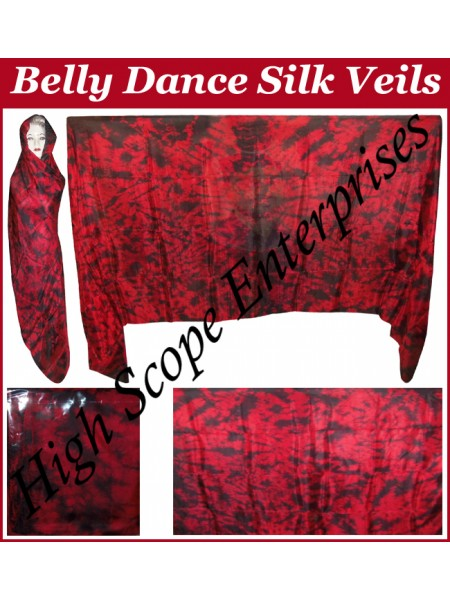 Belly Dance Tie-dye Color on Color  Rectangle Silk Veil HSE-RV-12012