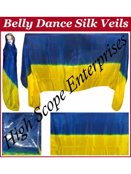 Belly Dance Two Color Gradient Rectangle Silk Veil HSE-RV-13004