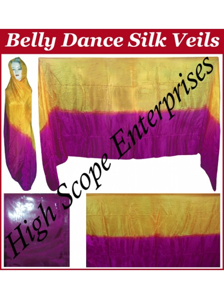 Belly Dance Two Color Gradient Rectangle Silk Veil HSE-RV-13005