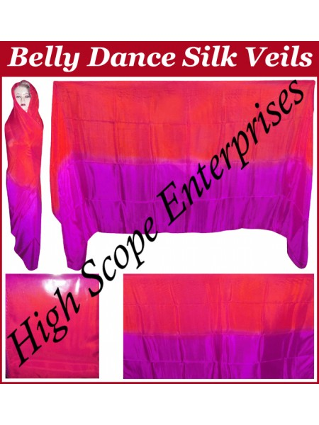 Belly Dance Two Color Gradient Rectangle Silk Veil HSE-RV-13009