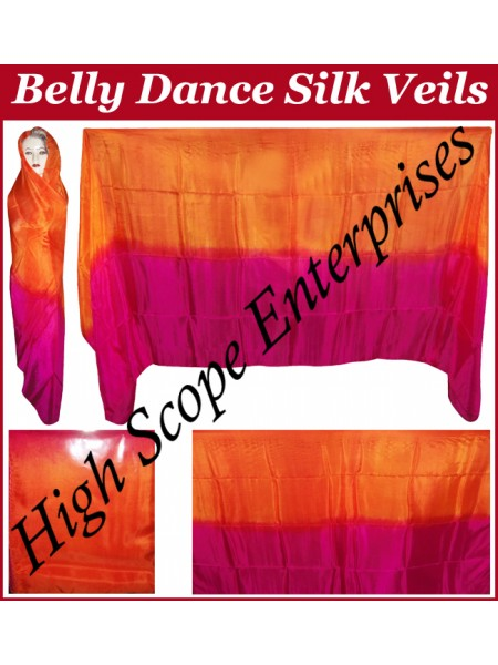 Belly Dance Two Color Gradient Rectangle Silk Veil HSE-RV-13010