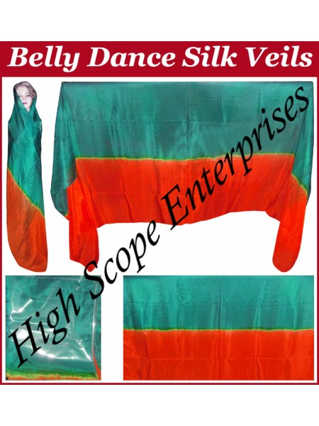 Belly Dance Two Color Gradient Rectangle Silk Veil HSE-RV-13011