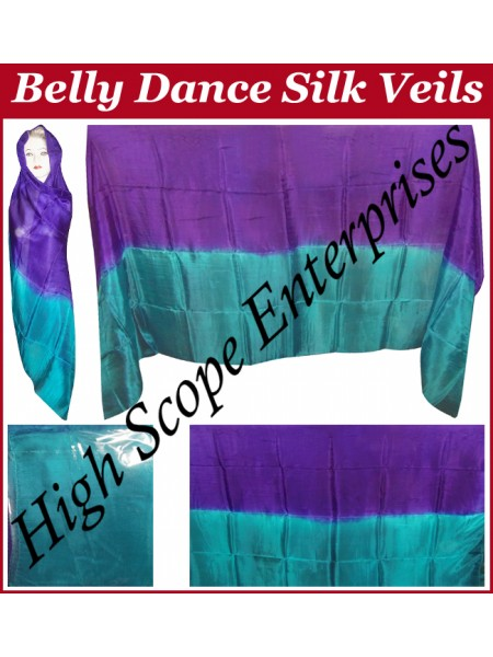 Belly Dance Two Color Gradient Rectangle Silk Veil HSE-RV-13018
