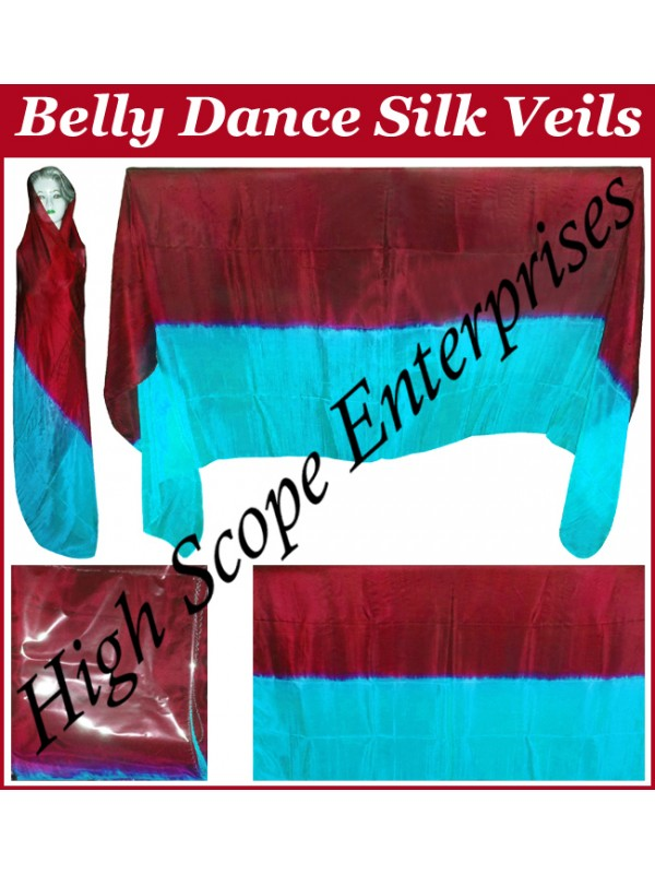 Belly Dance Two Color Gradient Rectangle Silk Veil HSE-RV-13019