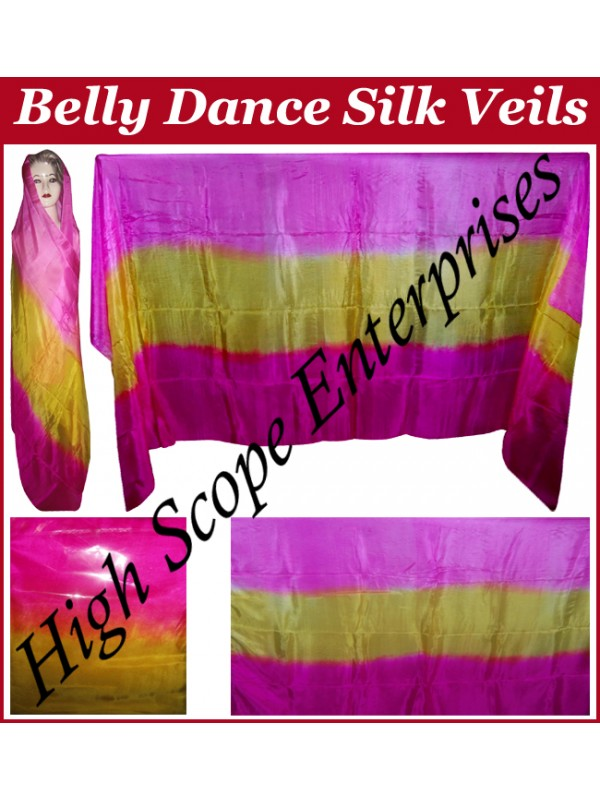Belly Dance Two Color Gradient Rectangle Silk Veil HSE-RV-13026