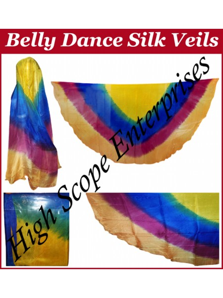 Belly Dance Four Color Gradient Half Circle Silk Veil HSE-HCV-2024