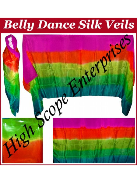 BellyDance Five Color Gradient Rectangle Silk Veil HSE-RV-5001