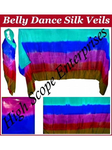 BellyDance Five Color Gradient Rectangle Silk Veil HSE-RV-5002