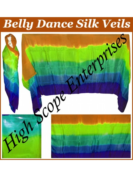 BellyDance Five Color Gradient Rectangle Silk Veil HSE-RV-5003