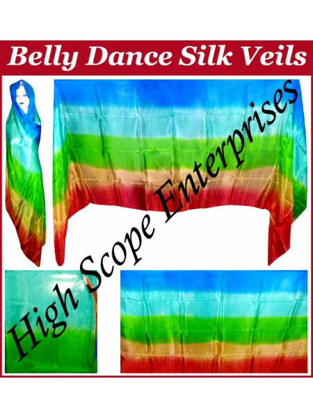BellyDance Five Color Gradient Rectangle Silk Veil HSE-RV-5005