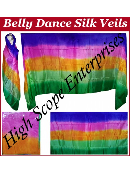 BellyDance Five Color Gradient Rectangle Silk Veil HSE-RV-5006