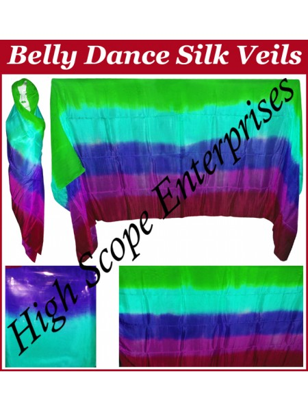 BellyDance Five Color Gradient Rectangle Silk Veil HSE-RV-5007