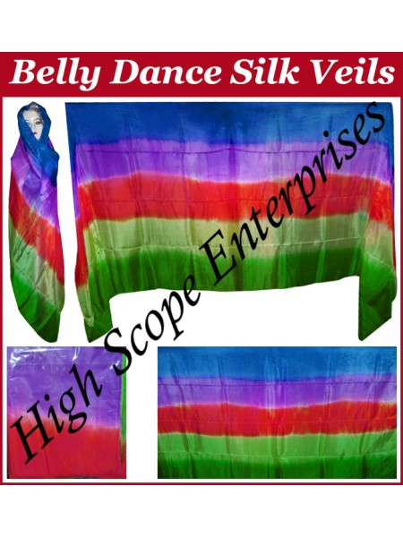 BellyDance Five Color Gradient Rectangle Silk Veil HSE-RV-5008