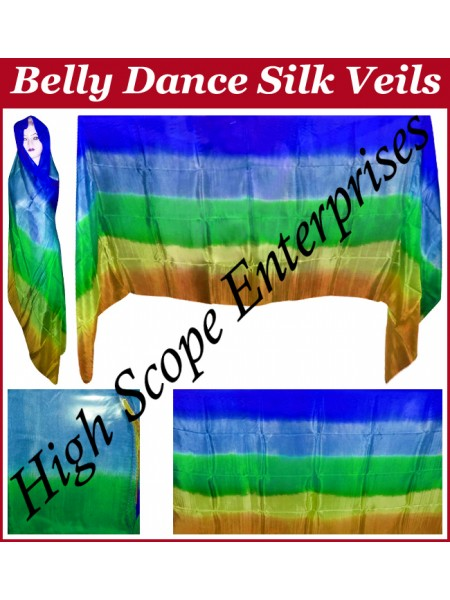 BellyDance Five Color Gradient Rectangle Silk Veil HSE-RV-5009