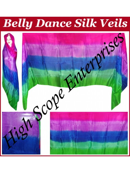 BellyDance Five Color Gradient Rectangle Silk Veil HSE-RV-5010