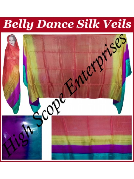 Belly Dance Four Color Gradient Rectangle Silk Veil HSE-RV-6002