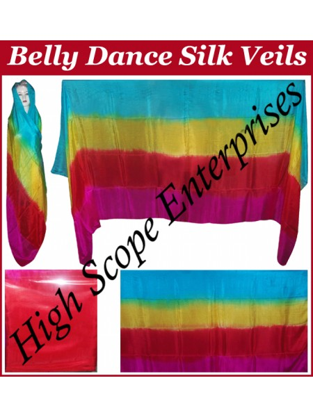 Belly Dance Four Color Gradient Rectangle Silk Veil HSE-RV-6003