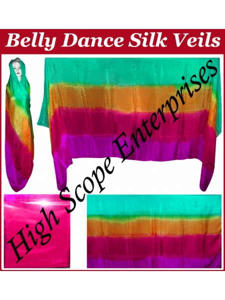Belly Dance Four Color Gradient Rectangle Silk Veil HSE-RV-6004