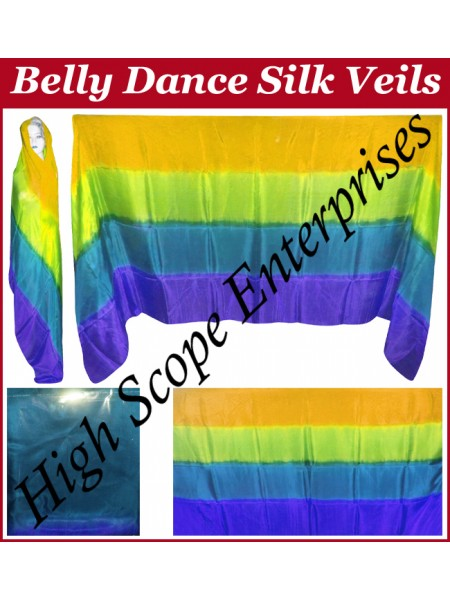 Belly Dance Four Color Gradient Rectangle Silk Veil HSE-RV-6006