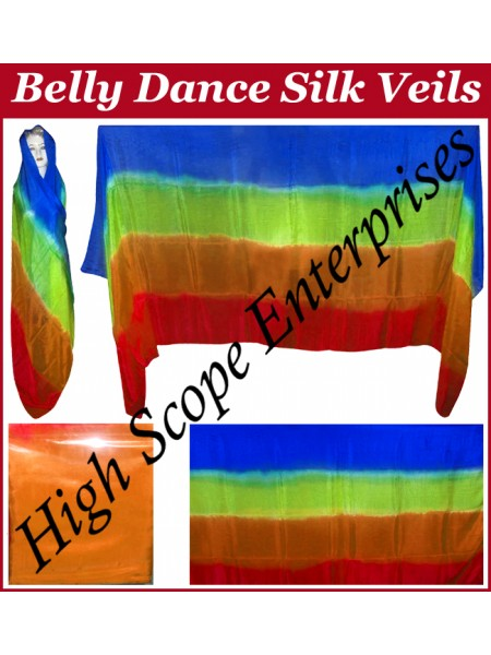 Belly Dance Four Color Gradient Rectangle Silk Veil HSE-RV-6008