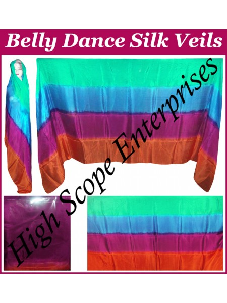 Belly Dance Four Color Gradient Rectangle Silk Veil HSE-RV-6009
