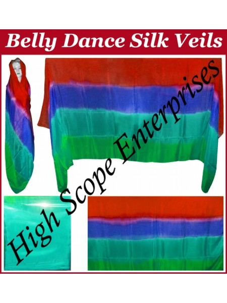 Belly Dance Four Color Gradient Rectangle Silk Veil HSE-RV-6010