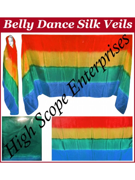 Belly Dance Four Color Gradient Rectangle Silk Veil HSE-RV-6012