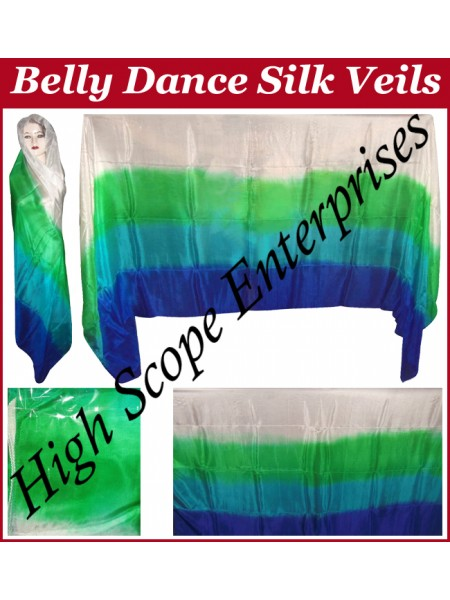 Belly Dance Four Color Gradient Rectangle Silk Veil HSE-RV-6016