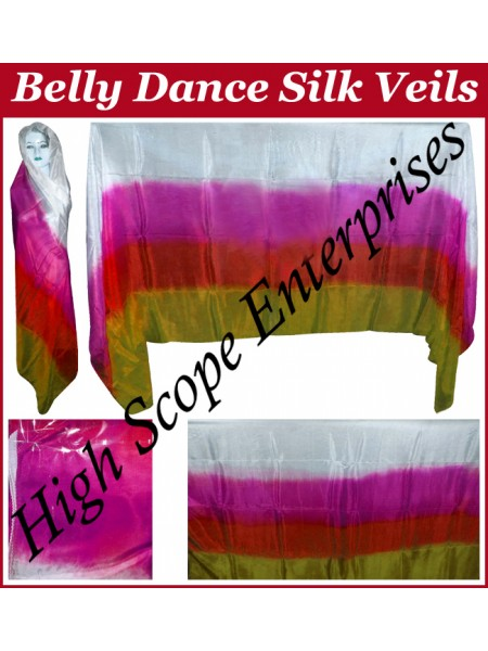 Belly Dance Four Color Gradient Rectangle Silk Veil HSE-RV-6019